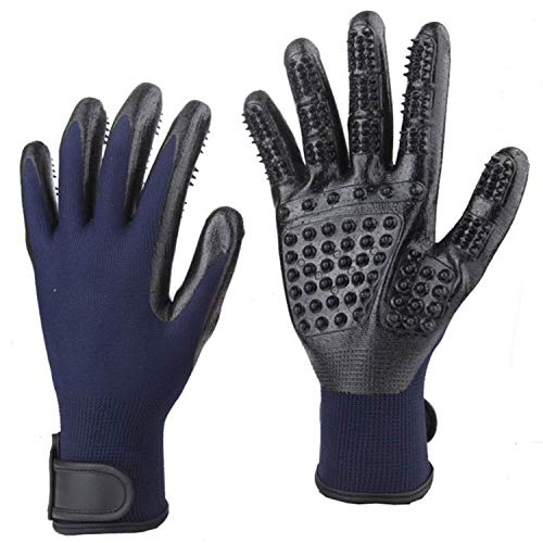 CoreLife Haustier-Badehandschuhe - sanfte Fellpflege, zum Entfernen von Haaren und Fellbürsten, 1 Paar Handschuhe für die Linke und rechte Hand, Marineblau -