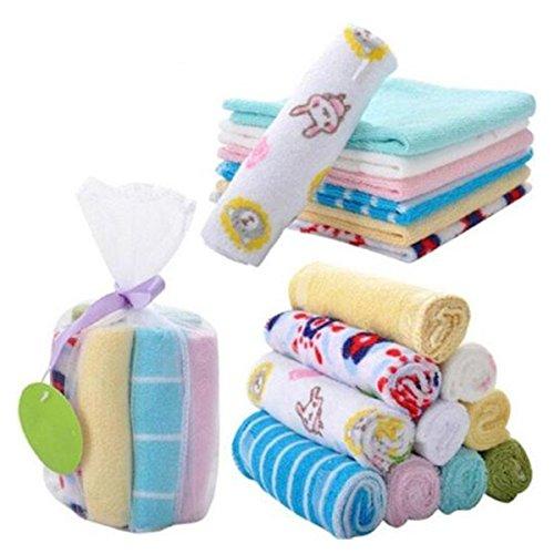 NUOLUX Baby Baumwolle Waschlappen Waschtücher Handtücher 8 Stück