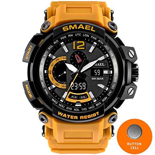 Smael 1702 Herren-Armbanduhr, Militär-Stil, wasserdicht bis 50m, stoßfest, Sportuhren, digital, groß, Orange