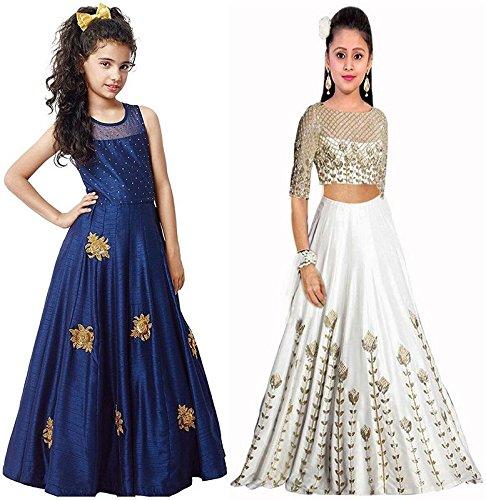 Market Magic World Girl\'s Blue & White Banglori Semi Stitched Combo Pack lehenga Choli, Salwar Suit, Gown (Kids Wear_Free Size_8-12 Year age)