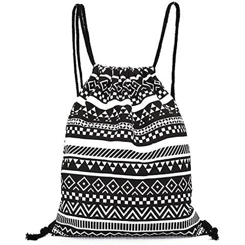 Kingko® Unisex retrò zaini geometriche borsa morbida coulisse modellato il tempo libero viaggio zaino iuta (Coulisse Tote Borsa)