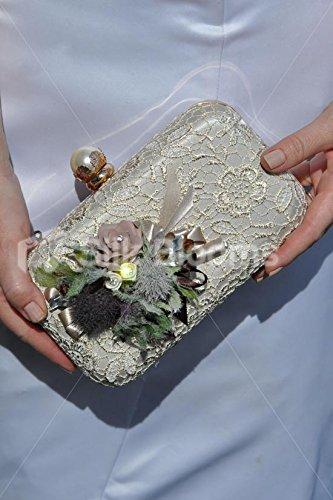 Lusso artificiale marrone rose e cardo bag corpetto W/cristalli - Bag Corpetto