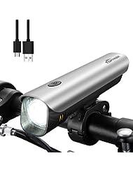 Toptrek Fahrradbeleuchtung Fahrradlicht USB Wiederaufladbare Fahrradlampen Set (Frontlicht + Rücklicht)/Samsung Li-ion/CREE LED/Wasserdicht IPX4/300 Lumen