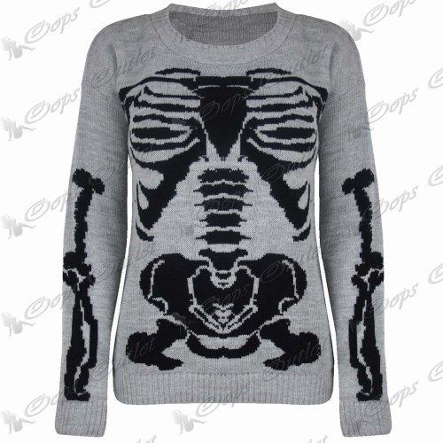 Damen Halloween Skelett Knochen Bedruckt Enganliegend Tunika Kleid Top 8 10 12 14 - Grau - Knochen Skelett Strick Pullover Top, 36