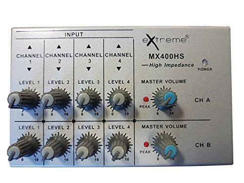 EXTREME MX400HS MINI MICRO MIXER STEREO 4 x 2 CANALI JACK + 2 OUT JACK TRS BILANCIATE - 4 Canali Mini Mixer