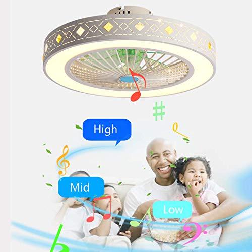 LED-Deckenleuchte mit Bluetooth-Lautsprecher, moderner Deckenventilator, runde Musik-Deckenleuchte zur Unterputzmontage, kabellose Timing-Deckenleuchten für Kinderzimmer, Wohnzimmer, Schlafzimmer,A