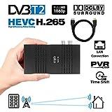 Crypto Redi 30PH Mini DVBT2 Full HD Receiver mit H.265/HEVC, Dolby, PVR Ready, Media Player, LAN, HDMI, RF Out und Fernbedienung mit 4 Tasten Lernfunktion (inkl. HDMI Cable)