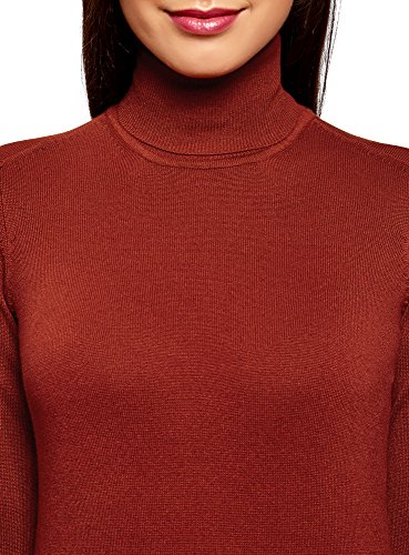 oodji Collection Donna Maglione Basic in Viscosa Rosso (3100N)