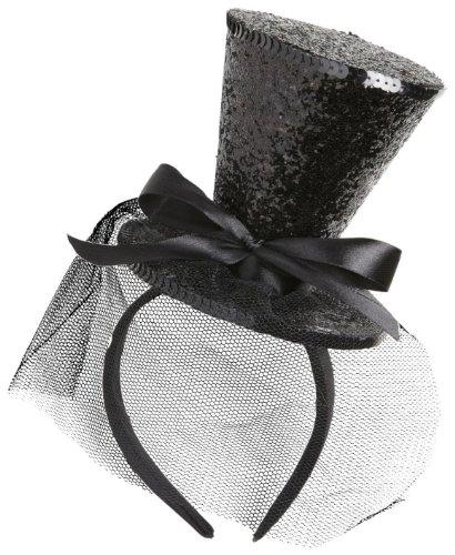 Widmann 0066F - Minizylinder schwarz Glitter, auf Haarreif, mit Schleife und (Kostüm Amazon Top Hut)
