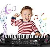 Tastiera Elettronica per Bambini 61 Tasti, Tastiera Musicale per Bambini, Multifunzione Tastiera Pianoforte Elettronico per Bambini Regalo di Natale Compleanno per bambini(Nero)