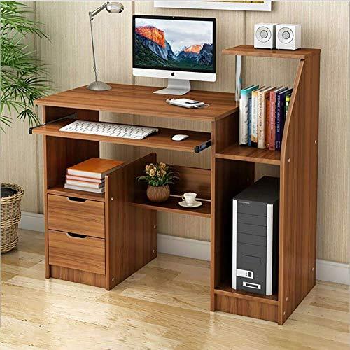 DDGOD Computerschreibtisch Mit schubladen und regalen Lautsprecher Pc-Laptop-Tisch Computerschreibtisch Holz Computertisch Schreibtisch Arbeitstisch Workstation-C 100x50x90cm(39x20x35in)