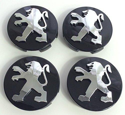 Lot de 4 cache-moyeux Peugeot de 60 mm - Noir - Chromé