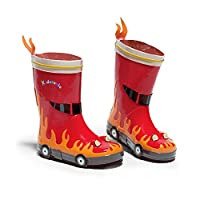 Kidorable Original Branded Fireman Firefighter Rubber Kids Rain Boots, Wellies for Little Girls, Boys, Children, Toddlers