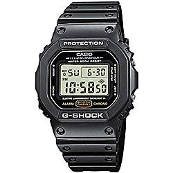 Reloj CASIO G-SHOCK DW-5600E-1V Cronógrafo, Alarma, Cuenta regresiva, Sumergible 20BAR-Correa de caucho negra