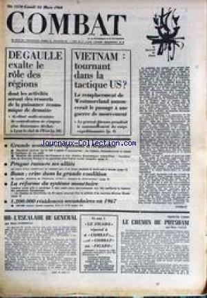 COMBAT [No 7370] du 25/03/1968 - DE GAUL...