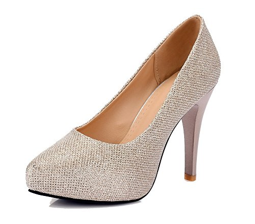Puxar Apontado Nobuck Agoolar Sapatos Puro Couro Bombas De Ouro Stiletto Dedo Senhoras De 4w5qFXX