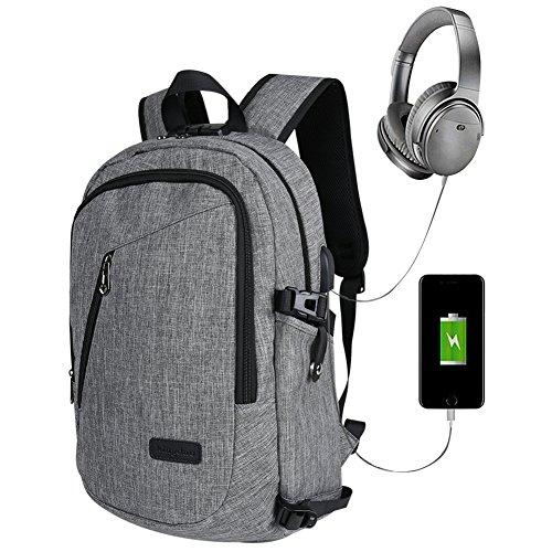 Preisvergleich Produktbild Anti Diebstahl Laptop Rucksack ,15,6 Zoll Computer Notebook Business Rucksäcke Schulrucksack Reise College Rucksack Backpack für Herren und Damen 35L mit USB Port -Lock Included- Grau