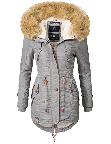 fake felljacke Navahoo Damen Winter Mantel Winterparka La Viva (vegan hergestellt) Grau Gr. S