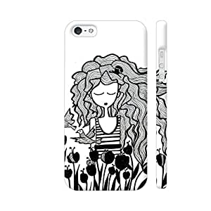 Colorpur The Tulip Garden And Girl In Black Artwork On Apple iPhone 5 / 5s Cover (Designer Mobile Back Case) | Artist: Woodle Doodle