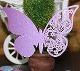 FANGXIN 50er Set 3D Schmetterlinge Wandsticker Papierkarte Tischkarten Weiß/Pink/Lila/Rot (lila)