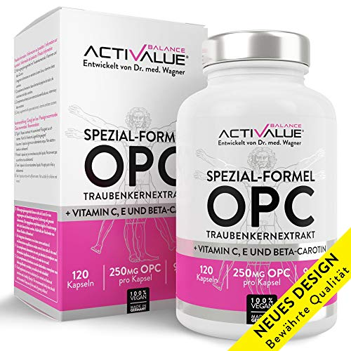 OPC Preis-Leistungs-SIEGER* - Dr.med.Wagner Erfolgs-Formel - hochdosierte 4-Monatspackung mit 525mg Traubenkernextrakt (250mg OPC pro Kapsel) 100% vegan, mit nat. Vitamin C, E, beta-carotin, ohne Magnesiumstearat