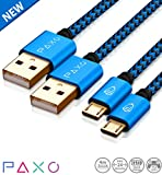 2 x 4m Nylon PS4 Ladekabel für Playstation 4 Controller, Zwei blau-schwarze Micro USB Kabel mit Stoffmantel & Aluminium Steckern