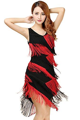 Damen Dancewear Latin Dance Fransen Kleid Practice Performance Kostüme (Schwarz Rot) (Ballroom Latin Dance Kostüme)