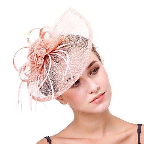 dressfan Fascinator Stirnband Halbrund Leinen Blumen Hut Bankett Pferde Tanz Braut Haarspangen