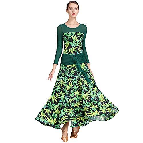 DHTW&R Damen Tanzen Rock Kleider Flexibel Bühne Kostüme Rezension Schiedsrichter Elegant Party Wettbewerb Kleid,Green,S (Kostüm Schiedsrichter Damen)