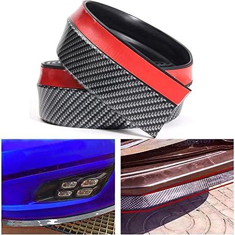Hunpta 2.5M Universal Carbon Fiber Front Bumper Lip Splitter Chin Spoiler Body Trim 8ft (Black)