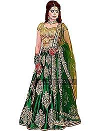 c9975661a Shree Radhe Enterprise Women s Taffeta Silk Embroidered Lehenga Choli (Green