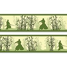 "'Etiqueta cenefa ""bambú con espada de cerezo kämpfern, 4piezas 560x 15cm, papel pintado, pared, cenefa Borte, pared decorativa, Japón, Samurai"