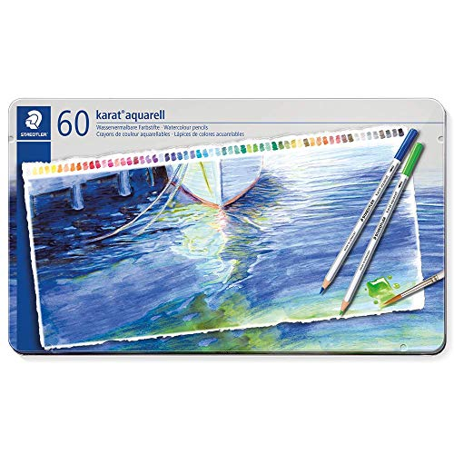 Staedtler karat aquarell matite colorate acquerellabili - scatola in metallo da 60