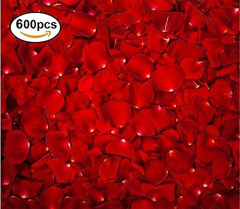 Lot De Pétales De Rose Réaliste En Soie Rouge Fleurs,