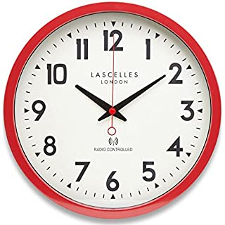 Black Country Metal Works 36cm Red Radio Controlled Wall Clock - Automatically Updates to Daylight Saving via Radio Transmitter