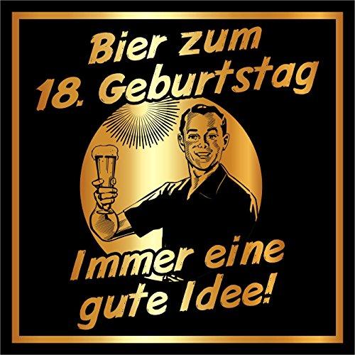 20 St. Aufkleber Original RAHMENLOS® Design: Selbstklebendes Flaschen-Etikett zum 18. Geburtstag: Bier-Immer eine gute Idee!