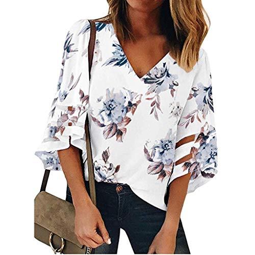 Junjie Damen V-Ausschnitt Blumen Mesh Panel Bluse 3/4 Bell Sleeve Beiläufige Lose Top Shirt Kleidung modern Sale sexy Sommer Oberteil Weiß, Navy -