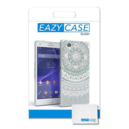 """EAZY CASE Handyhülle für Sony Xperia Z3 Compact Hülle - Premium Handy Schutzhülle Slimcover """"Clear"""" hochwertig und kratzfest - Transparentes Silikon Backcover in Klar / Durchsichtig Henna Weiß / Türkis"""