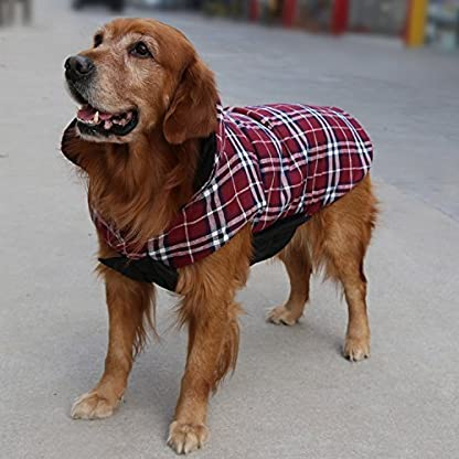 Akemiao Reversible Cozy Dog Jacket Small Medium Breed Windproof Warm Coat for Autumn Winter (Red-XS) 4