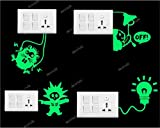 #6: Decor kafeFunny Glowing Switch Board Wall Stickers Set of 4