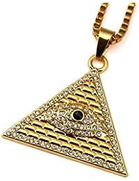 Fengteng El Ojo de Horus Amuleto Triángulo egipcio Pirámides Collar Colgante con cadena 23.6