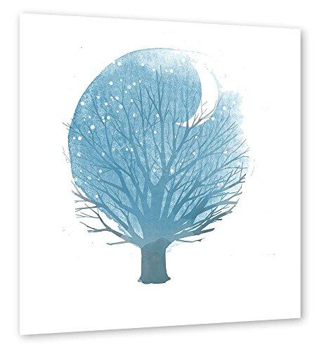 poster-photo-60x60-cm-illustration-nature-arbre-au-clair-de-lune-blau-semi-lustr-premium-photo-paper