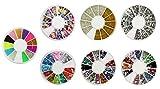 COM-FOUR® Set 7pcs Decorazioni di arte del chiodo Pietre di arte del chiodo Fetta Decorazione Strass Pietre del Strass in una tavolozza rotonda (Mini Glitter Mix 3)