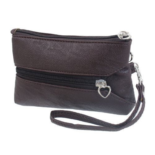 Donna Marrone Scuro Zip In Ecopelle Up ABC Lettere Stampa 3 Tasche Mano Borsetta Marrone scuro