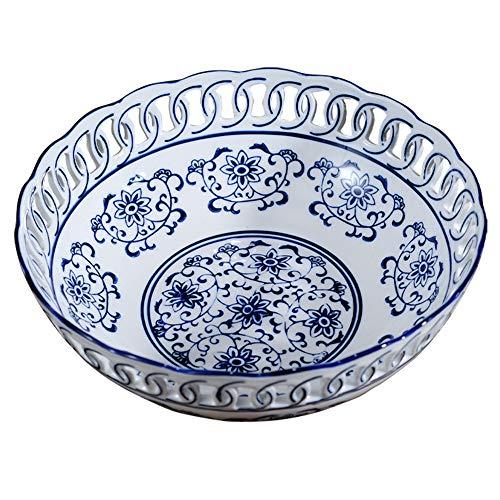 PORCN Obstteller Blau und weiß Porzellan Obstschale chinesischen neoklassischen Tea Room Wohnzimmer Esszimmer Fotang Keramik Dekoration Ornamente Handbemalt, A25.5cm - Handbemalte Esszimmer