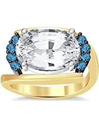 Silvernshine 4Ct Oval & Round Cut Sim Aquamarine Diamonds 18K Yellow Gold Plated Engagement Ring