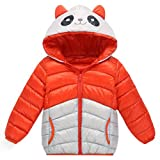 Longra Baby Kinder Mädchen Junge Winterjacke Steppjacke Sweatjacke Wärmejacke Jacke Parka Gesteppt mit Panda Kapuze Unisex Kinder Daunenmantel Daunenjacken Down Jacket (110CM 3Jahre, Orange)