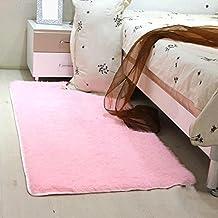 Flashing- Rosa, Nórdico Estilo Infantil Habitación Rectángulo Mezclado Alfombra De Color Sólido ( Color : Sección larga , Tamaño : 120*160cm )