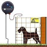 VOSS.farming 50m Hundezaun Komplettset Orange für kleine Hunde | Weidezaungerät Elektronetz Erdanschlussset Warnschild Reparaturset | Garten Hütesicherheit Elektrozaun Hundezaun Hund