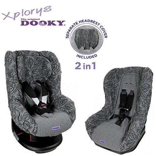 Original DOOKY 2in1 Sitzbezug ** UNIVERSAL Schonbezug für z.B. Maxi Cosi TOBI und Sitze der Gr. 1 ** GREY LEAVES **